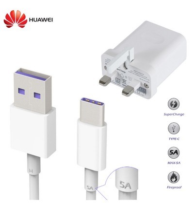 Original Huawei SuperCharge Power Adapter Charger with USB TYPE-C Cable