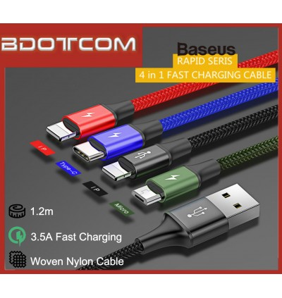 Baseus Rapid series 4 in 1 3.5A Type-C + MicroUSB + Double iP Fast Charge Cable