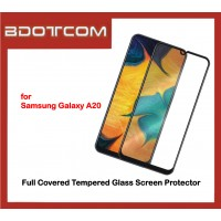Full Covered Tempered Glass Screen Protector for Samsung Galaxy A20 (Black)