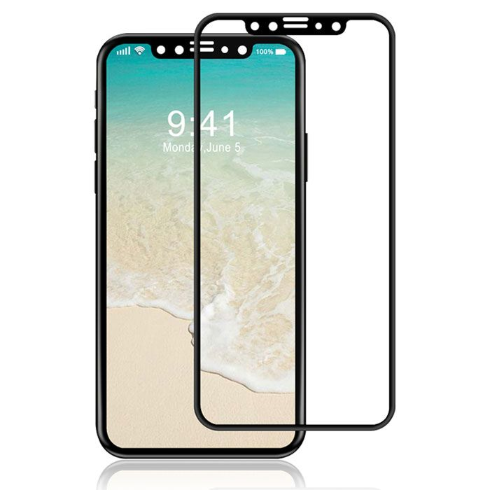 0e3776bde70417 Full Covered Tempered Glass Screen Protector Compatible with Apple iPhone X  (Black)